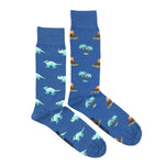 Load image into Gallery viewer, Men's Midcalf Socks - Dinosaur Blue