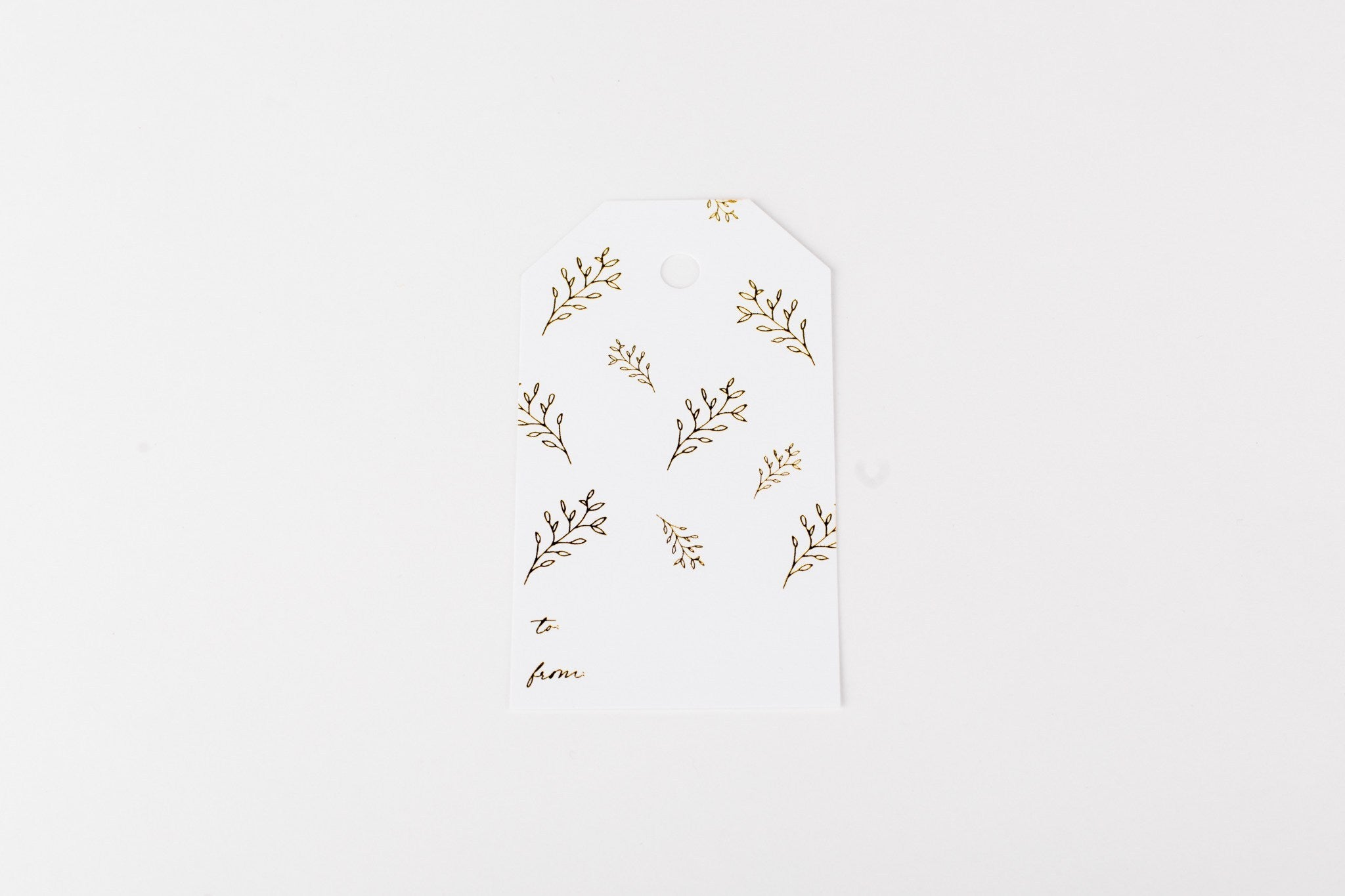 W&C Gift Tag - Gold Branches