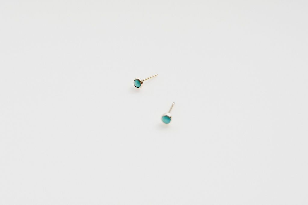 Mini Stud Earrings - Gemstone Gold Fill Turquoise