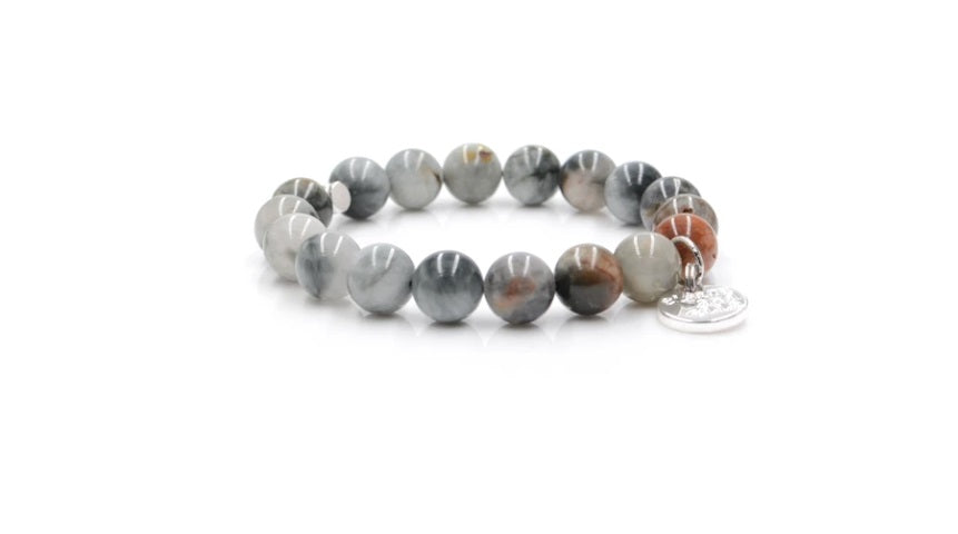 E&E Bracelet - Grey/Brown Cat Eye 10mm