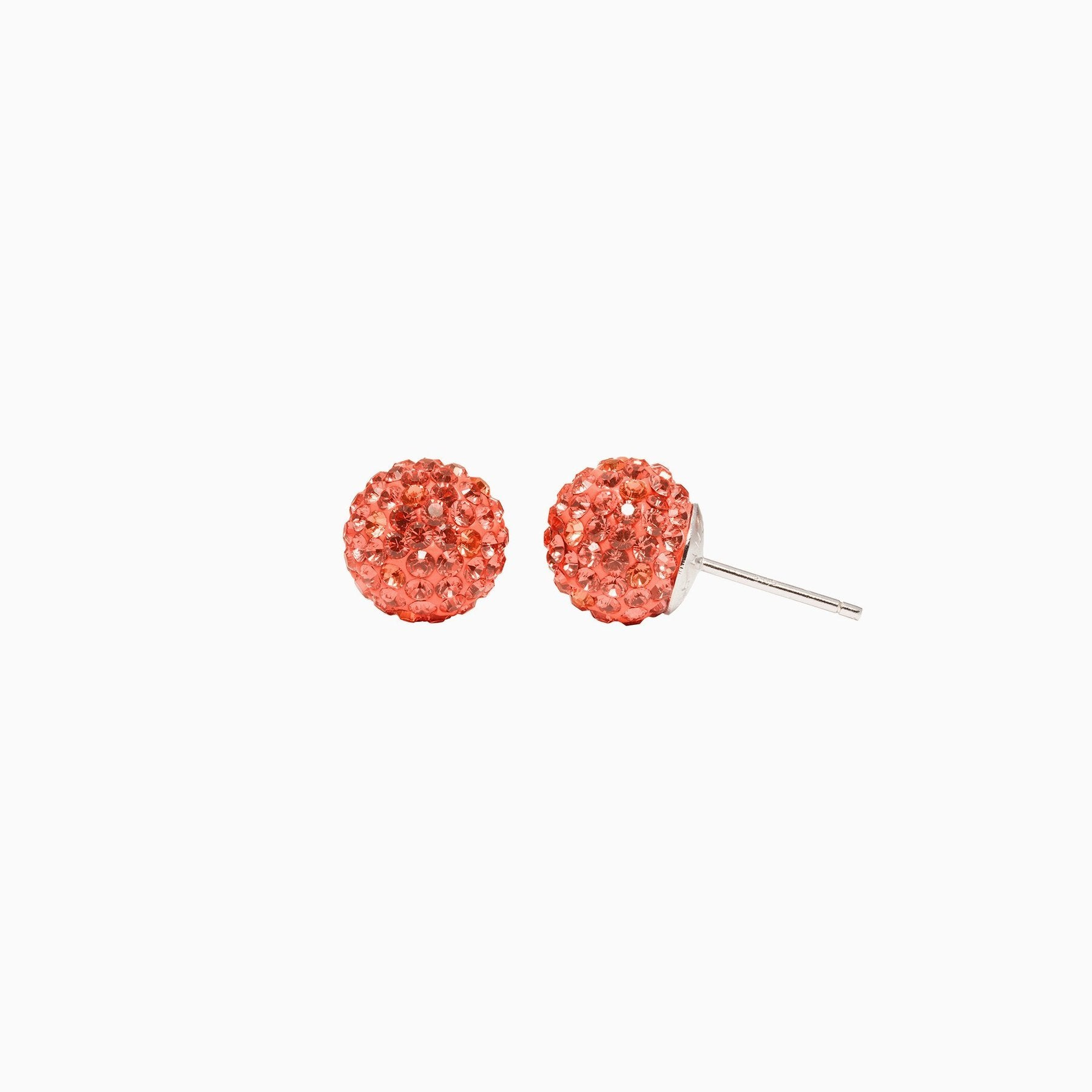 H&B Sparkle Ball™ Stud Earrings - 10mm Coral