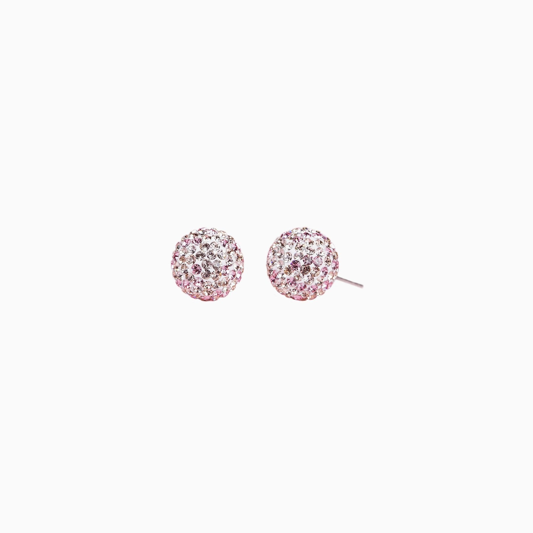 H&B Sparkle Ball™ Stud Earrings - 10mm Pink Champagne