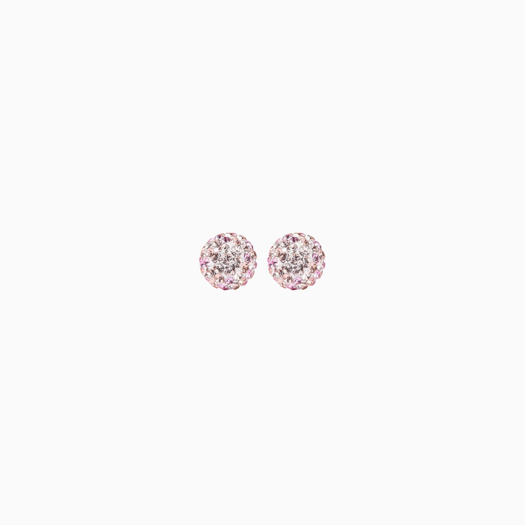 H&B Sparkle Ball™ Stud Earrings - 8mm Pink Champagne
