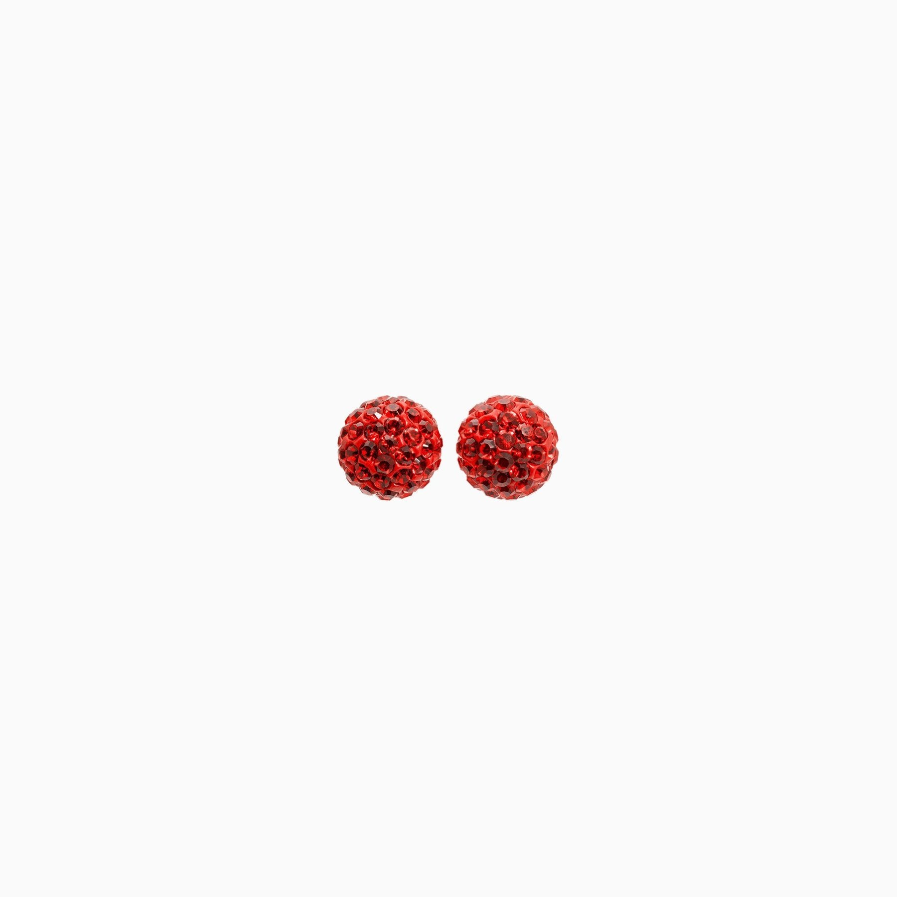 H&B Sparkle Ball™ Stud Earrings - 8mm Red