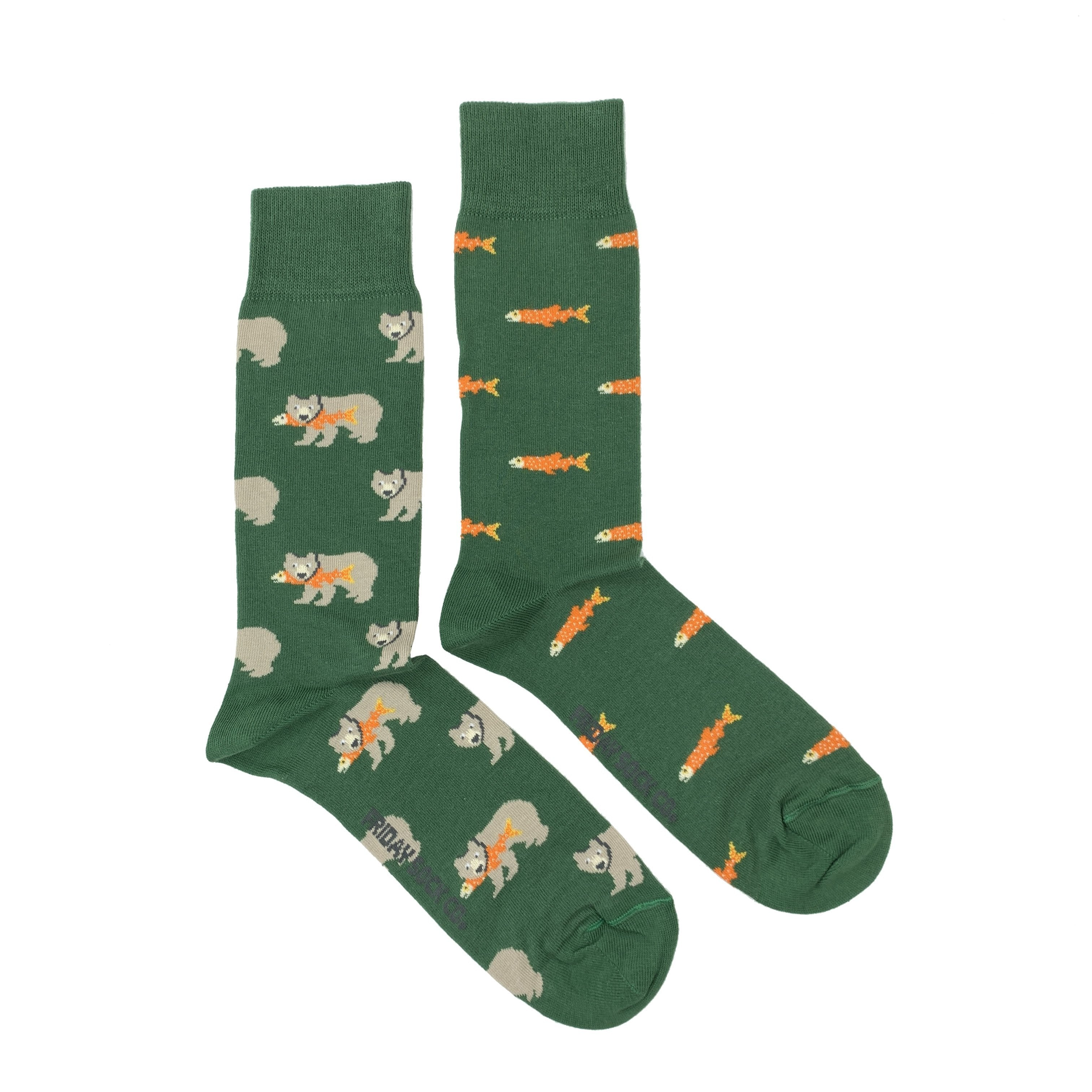 Men's Midcalf Socks - Grizzly Fish