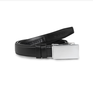 Mission Belt - Kids Platinum Buckle Black Leather Strap