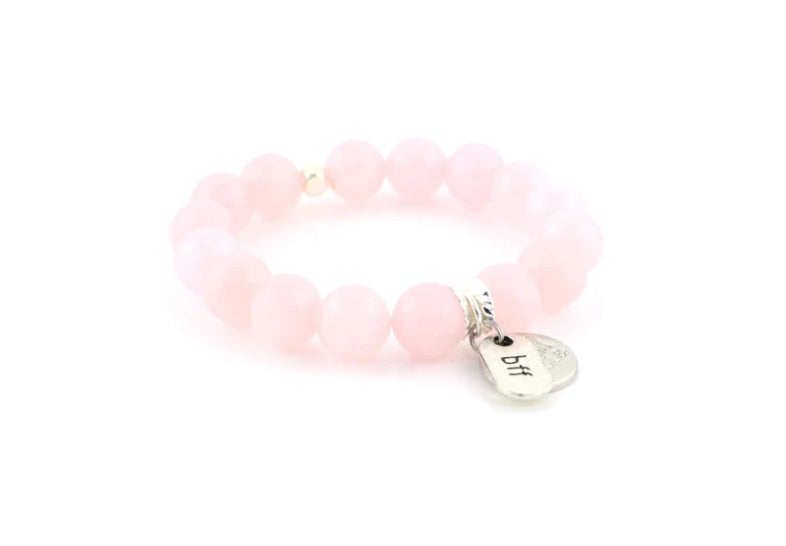 E&E Bracelet - Rose Quartz 12mm Silver BFF