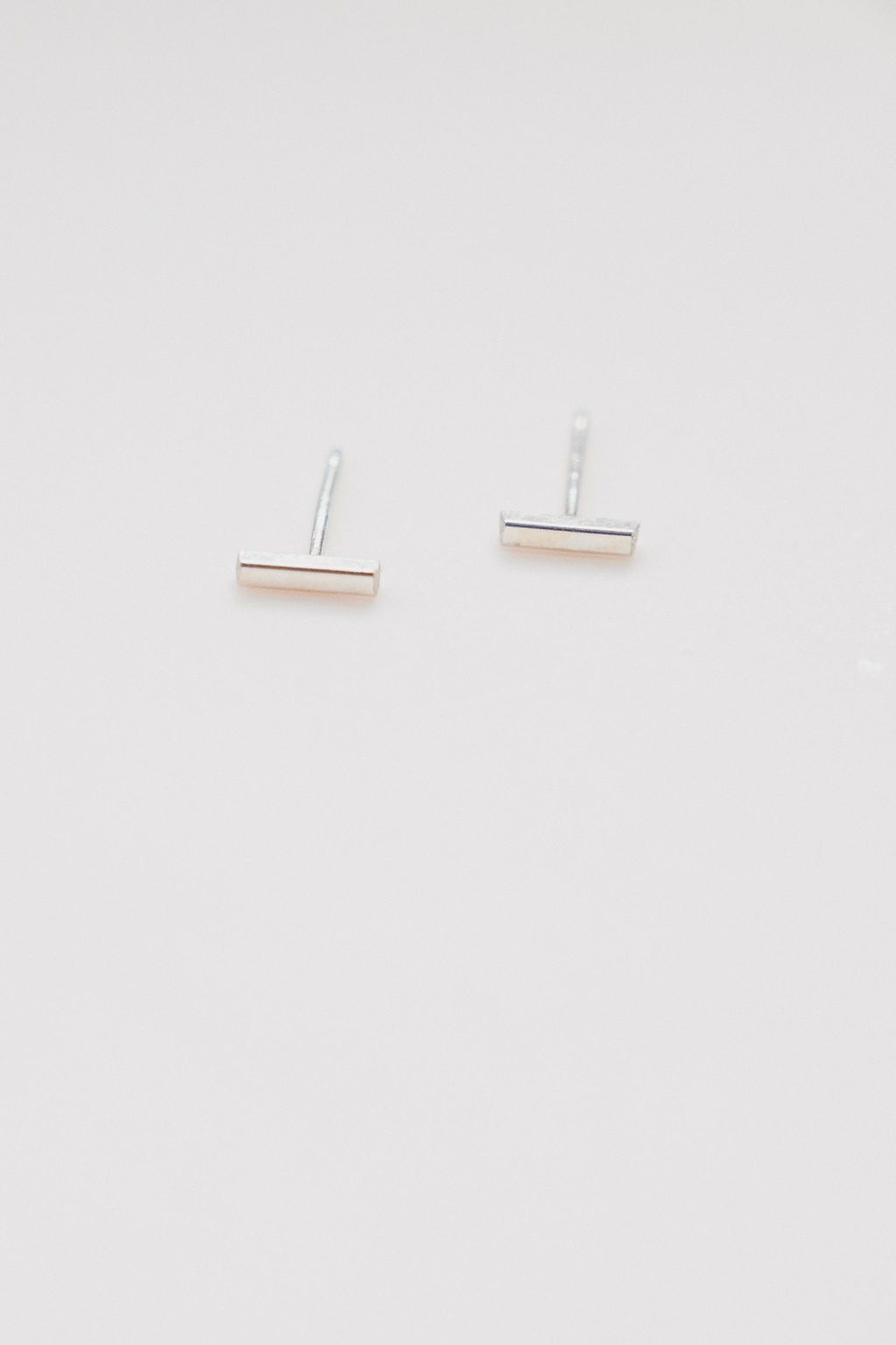 Mini Stud Earrings - Short Bar Silver
