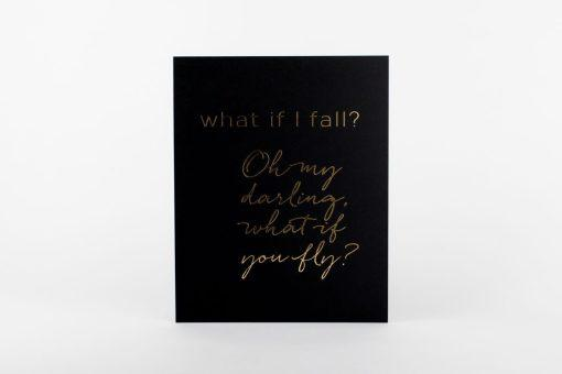 "Art Print - What If I Fall Print 5""x7"" Black/Gold"