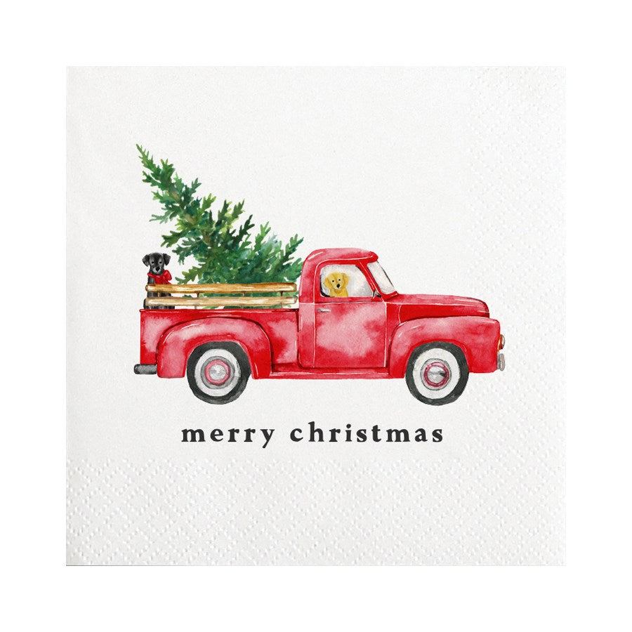 Cocktail Napkin - Merry Christmas Truck