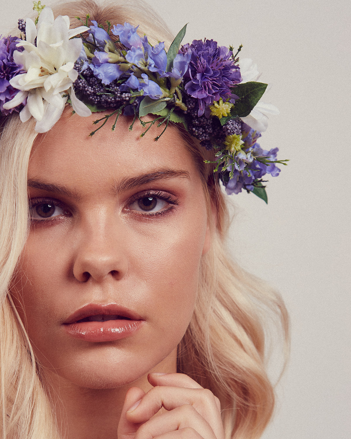 Image of Violet Floral Meadow Crown Headband