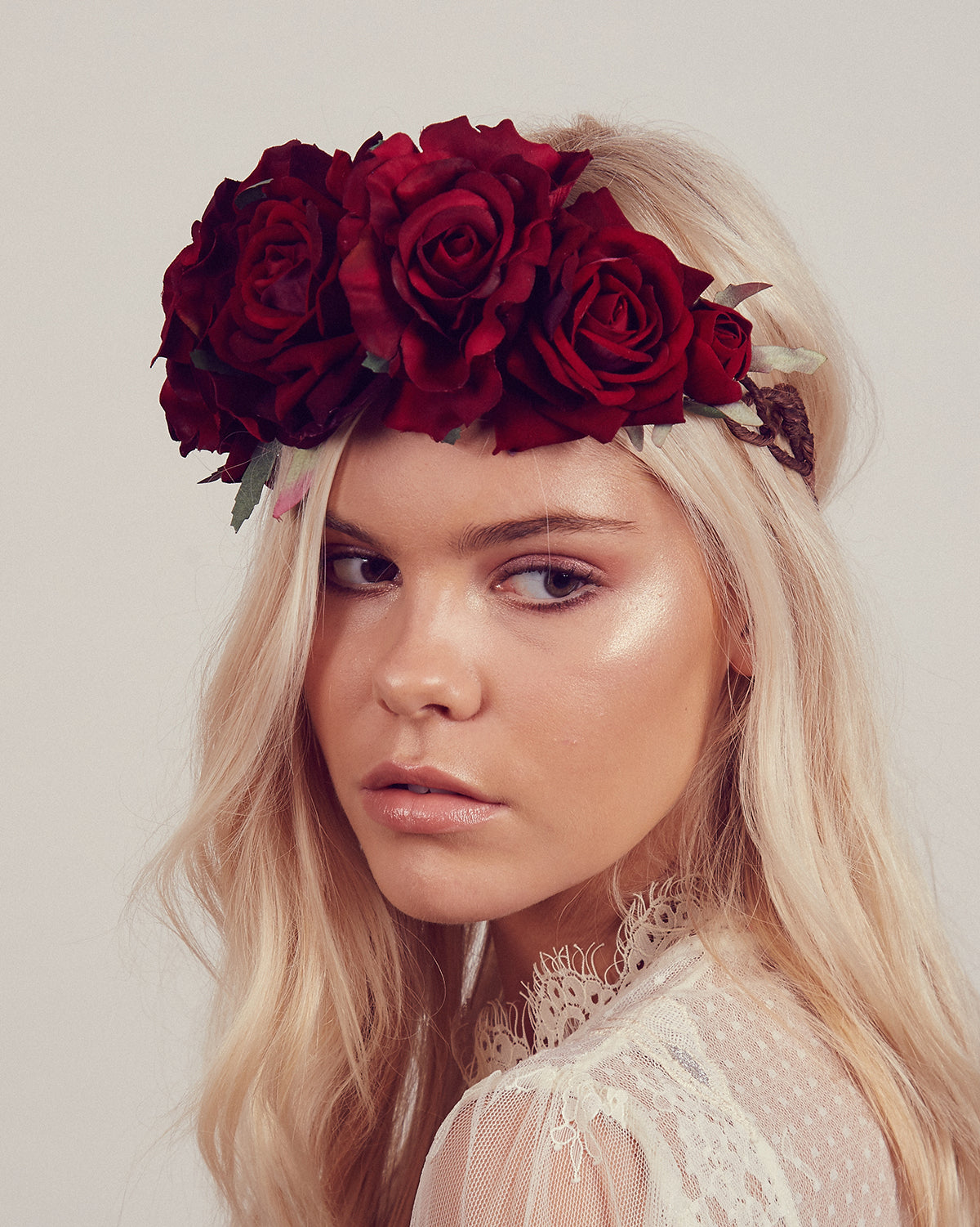 Image of Beatrice Red Rose Crown Headband
