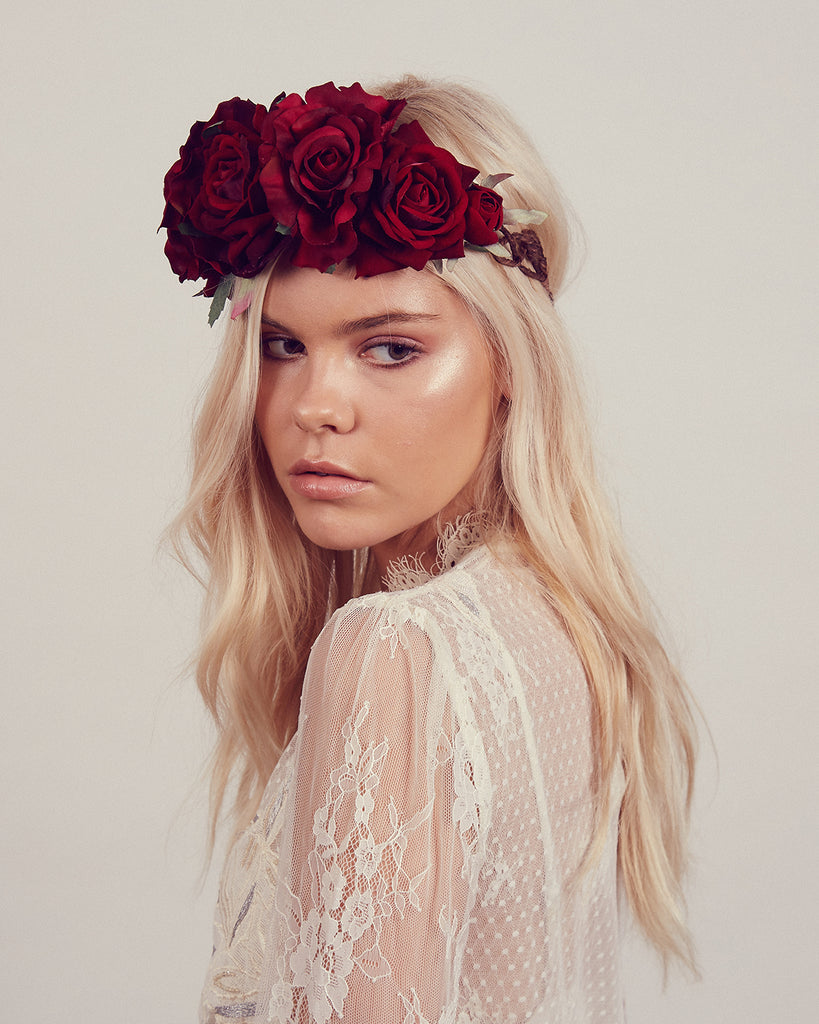 Beatrice Red Rose Crown Headband