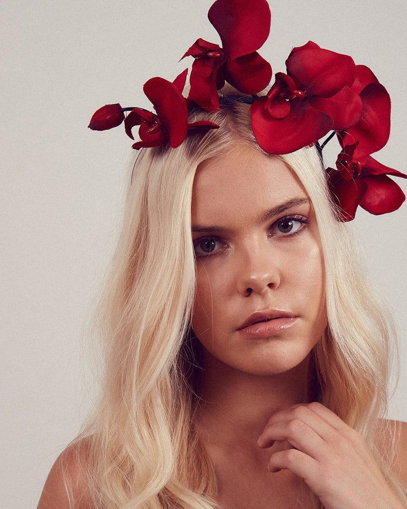 Cordelia Orchid Crown Headband - Red