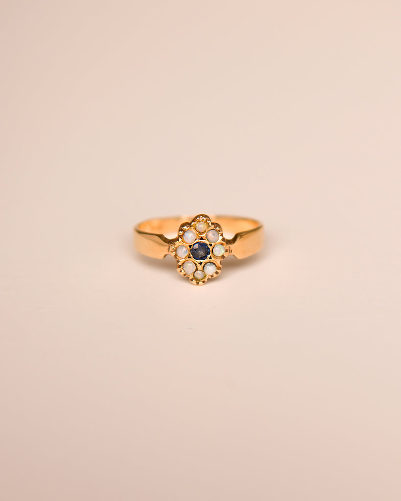 Mirabelle 9ct Gold Vintage Opal & Sapphire Ring