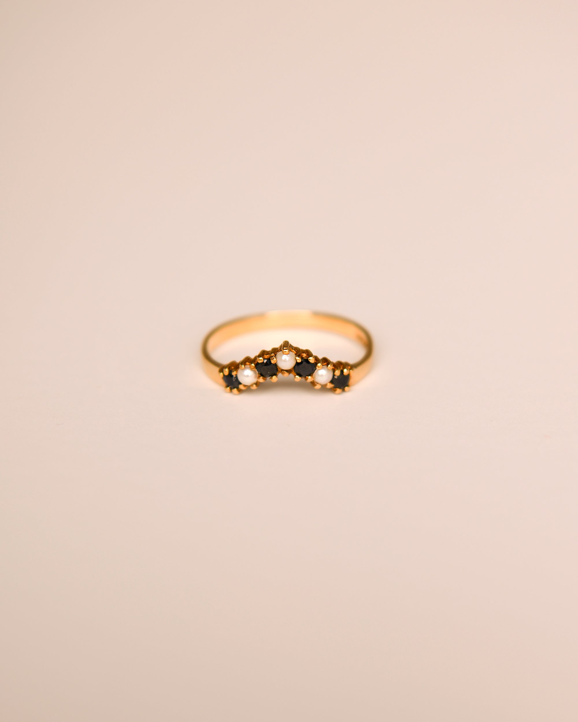 Image of Nancy 9ct Gold Vintage Sapphire & Pearl Ring