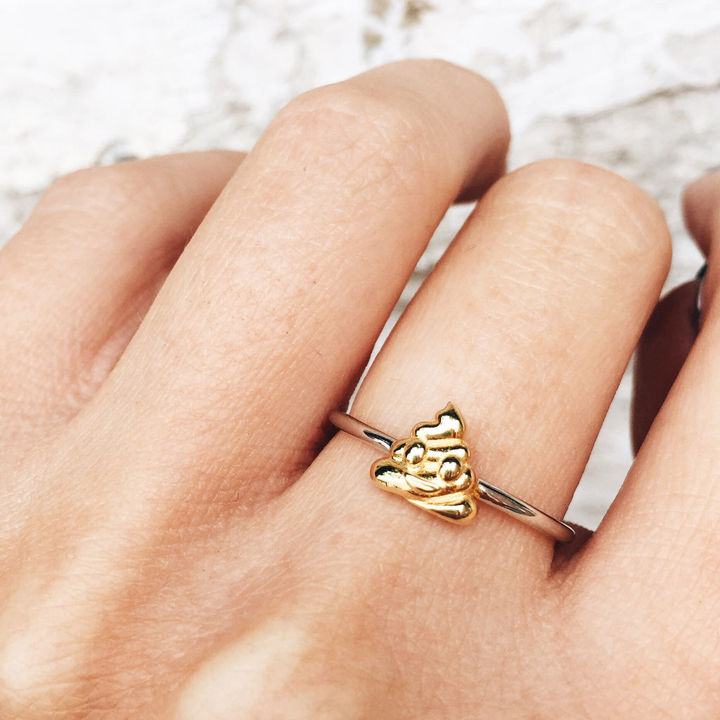 Image of POOP Sterling Silver Emoji Ring