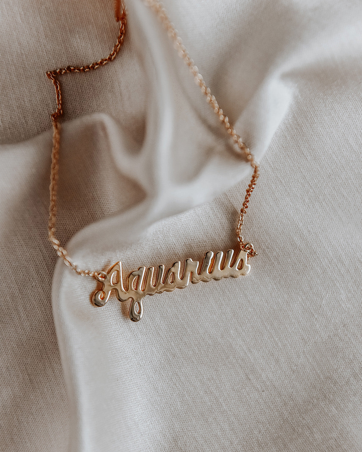 Image of Aquarius Zodiac Nameplate Necklace