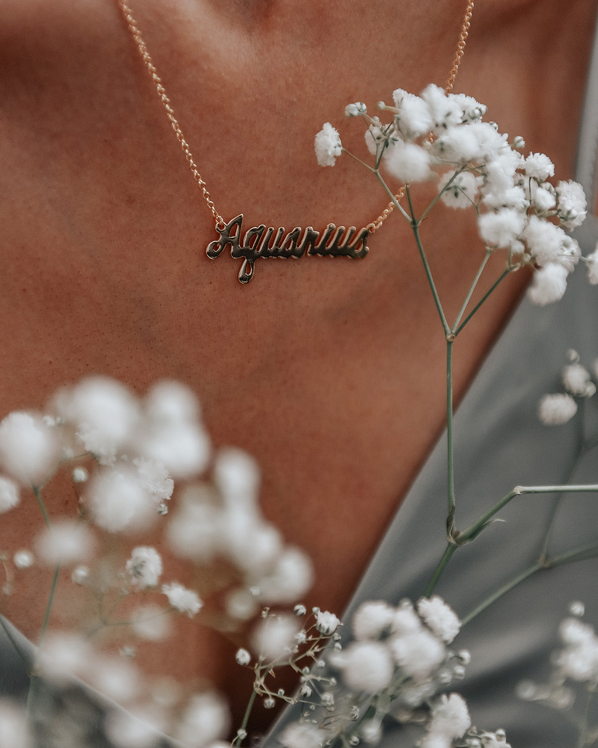 Aquarius Zodiac Nameplate Necklace