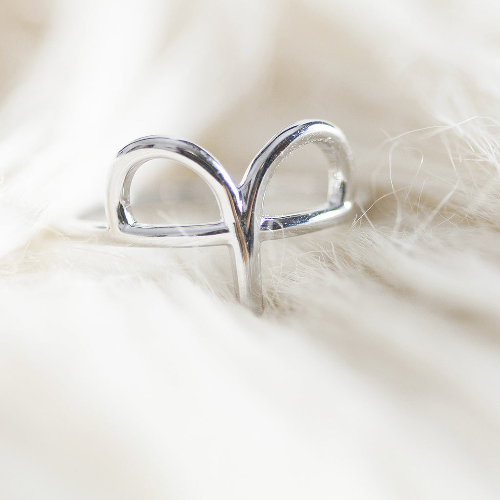 Bellatrix Sterling Silver Zodiac Ring - Aries