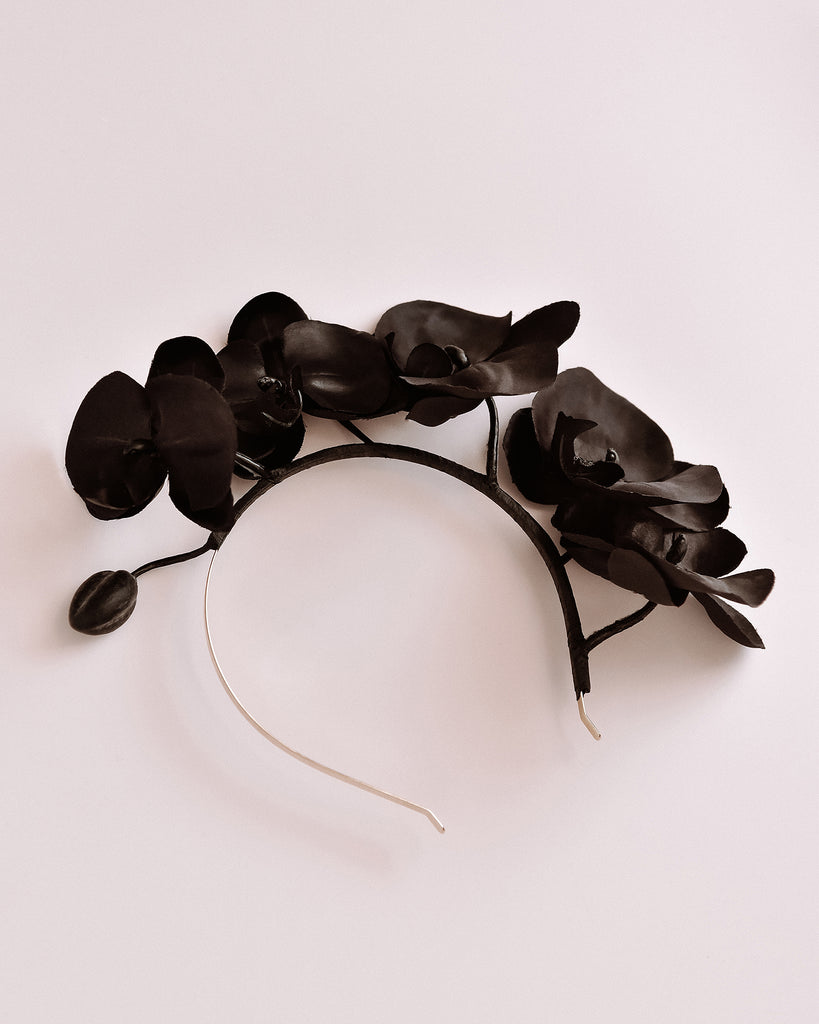 Cordelia Orchid Crown Headband - Black