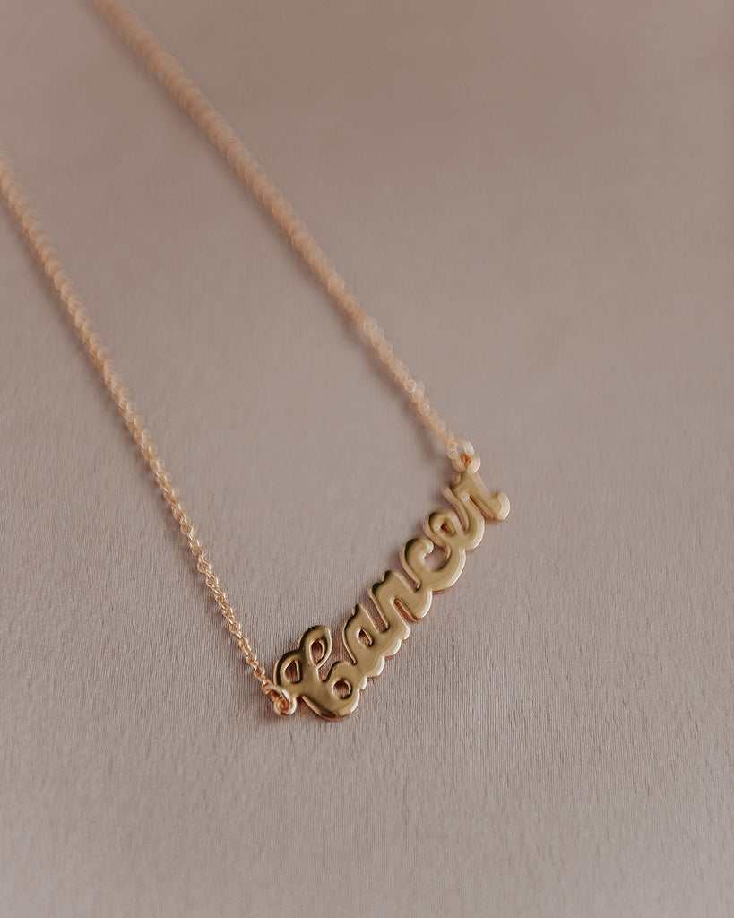 Cancer Zodiac Nameplate Necklace
