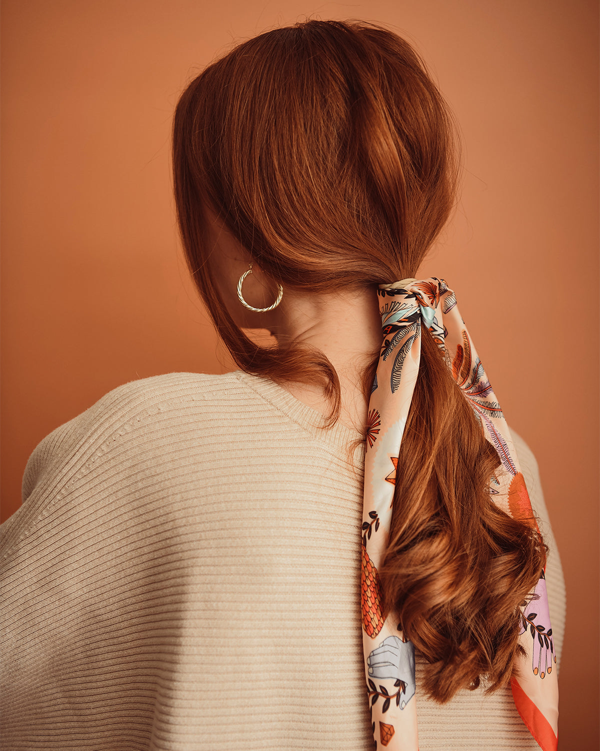 Cecily Hair Scarf - Peach