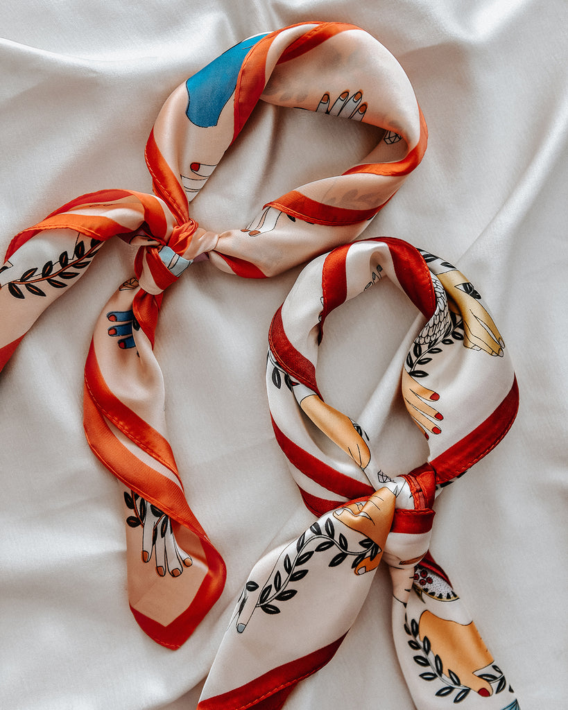 Cecily Silk Hair Scarf - Peach