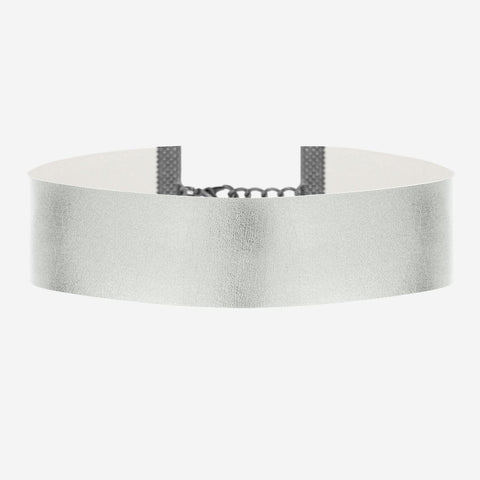 DAWN Wide Metallic Silver Choker