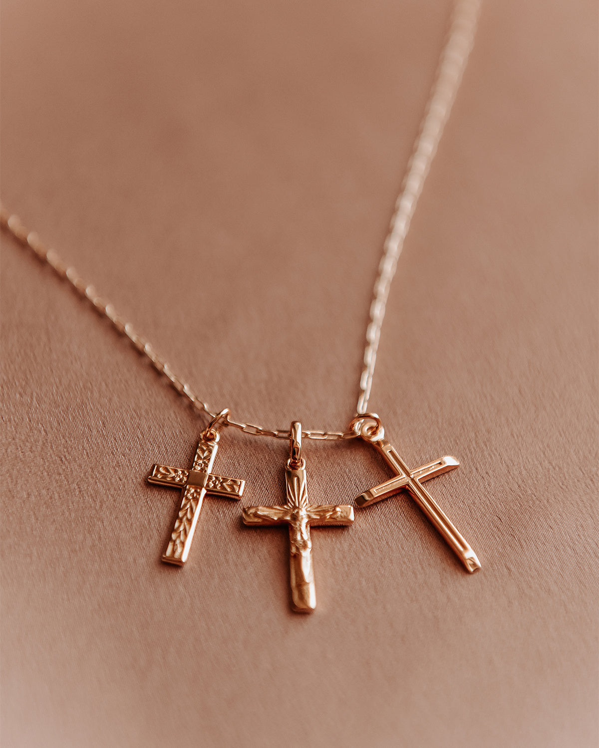 Image of Elspeth Gold Vermeil Cross Trio Necklace