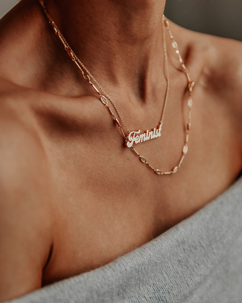 Feminist Script Nameplate Necklace
