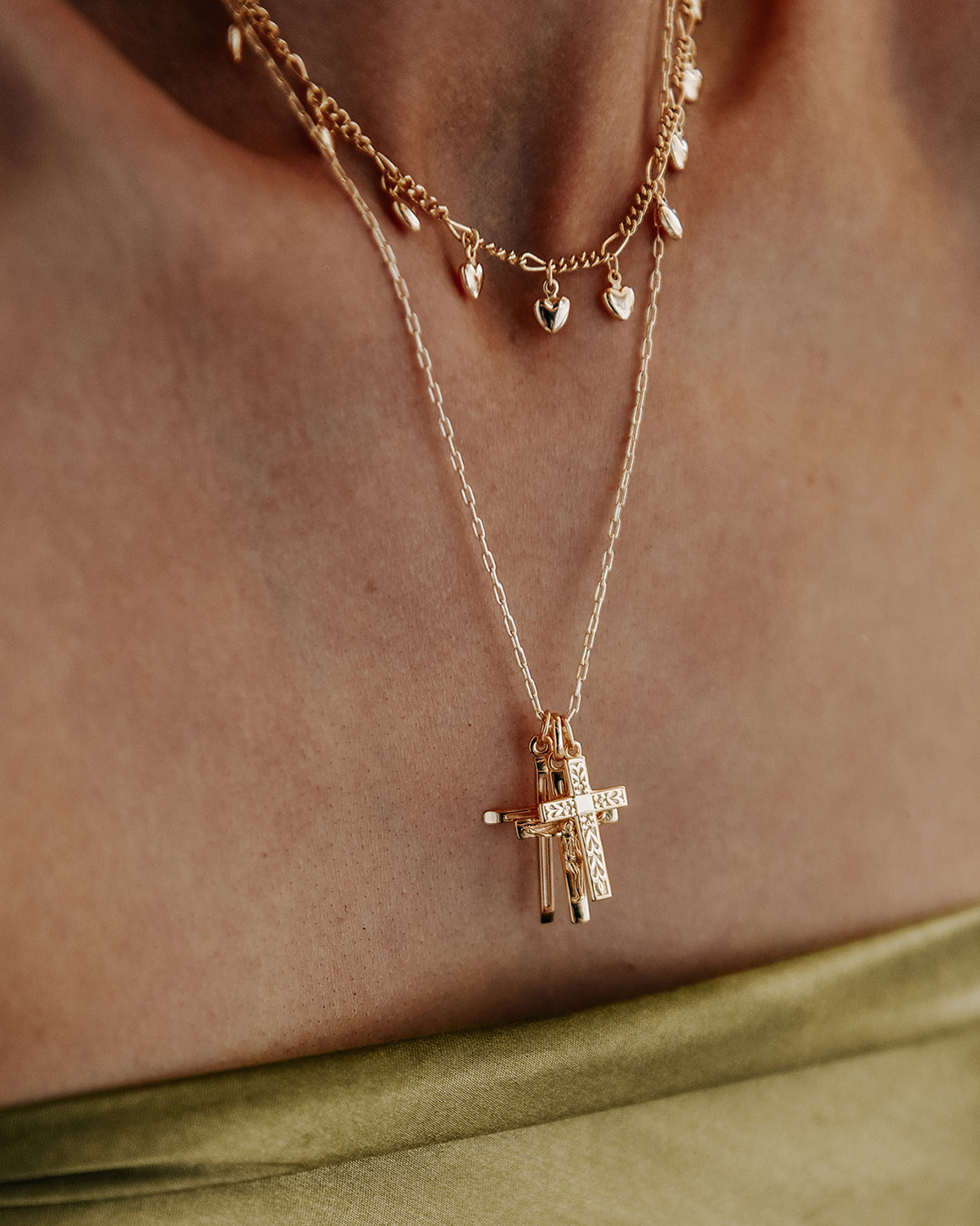 Elspeth Gold Vermeil Cross Trio Necklace