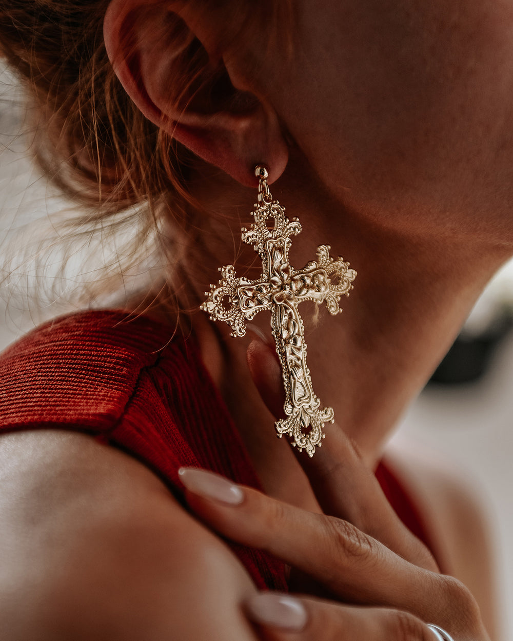 Gabrielle Baroque Cross Earrings