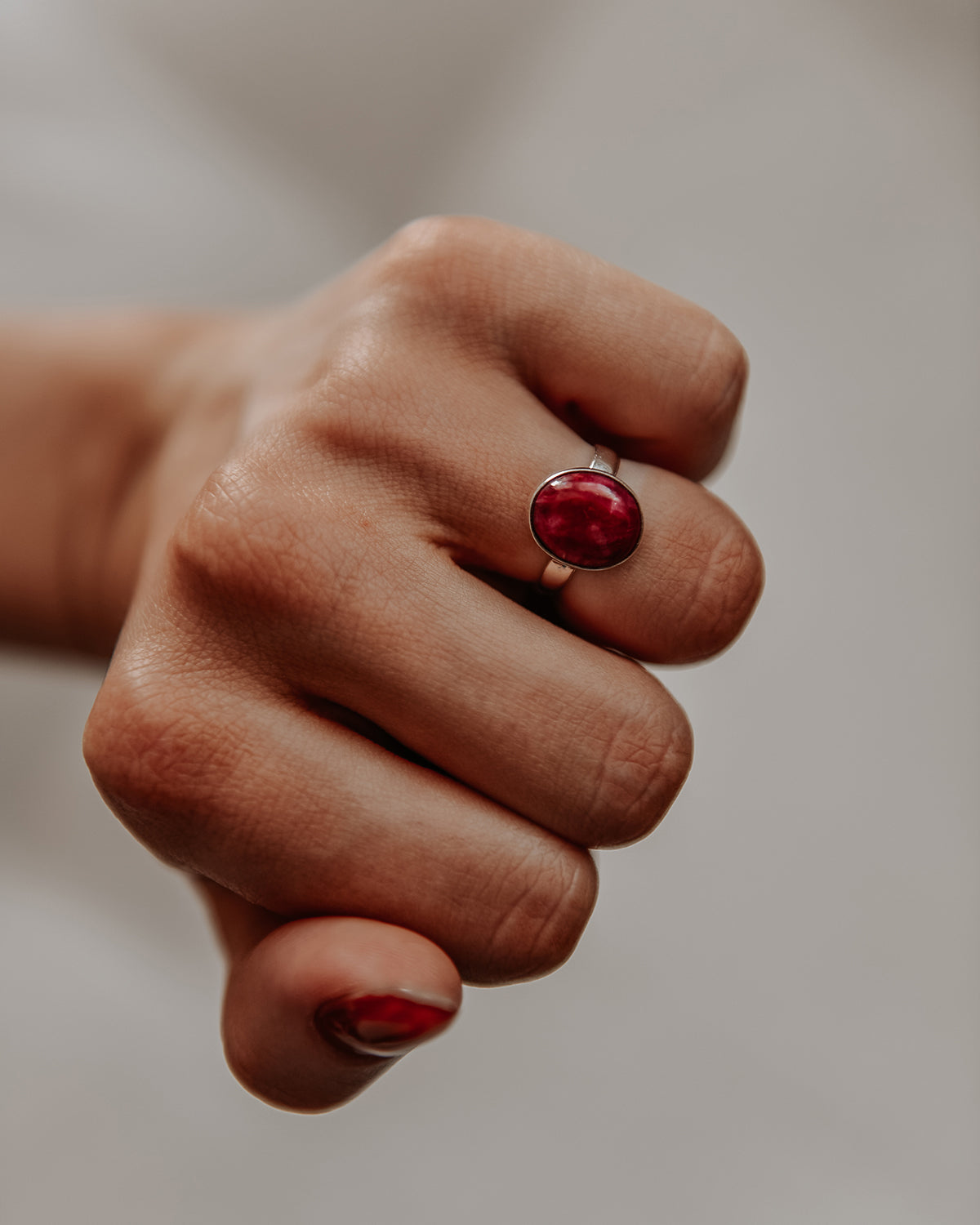 Image of Ebba Sterling Silver Gemstone Ring - Ruby