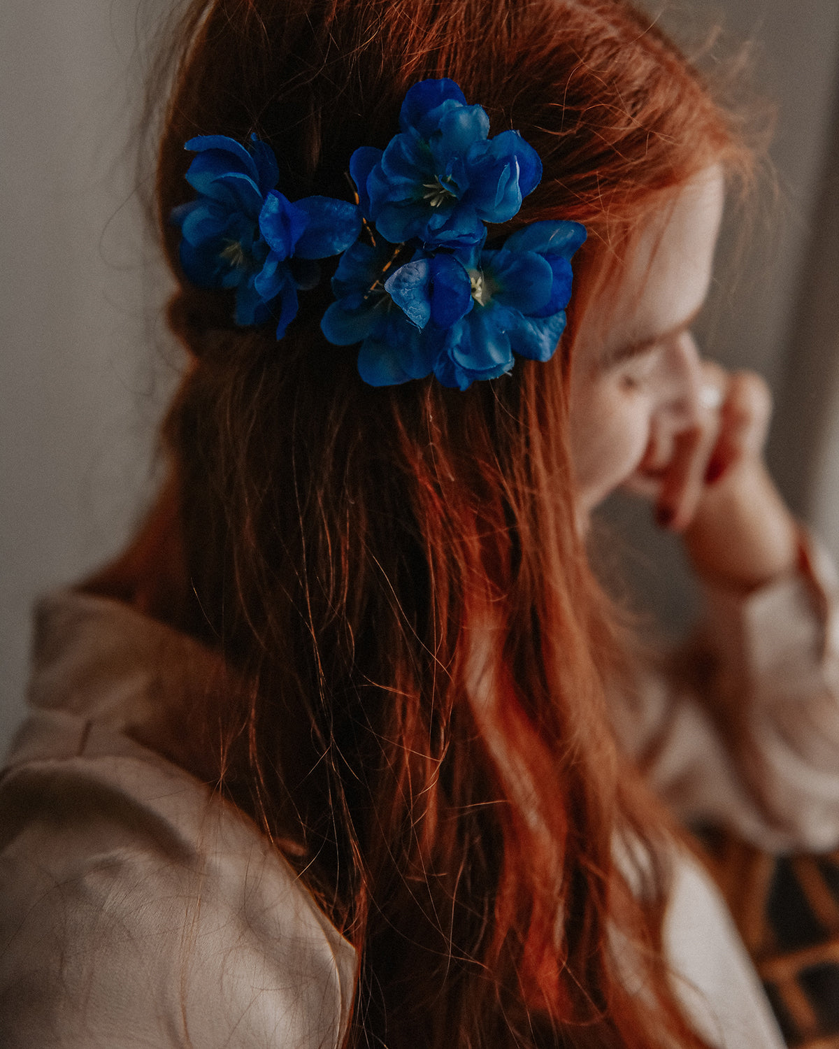 Image of Franny Flower Hair Pins - Blue