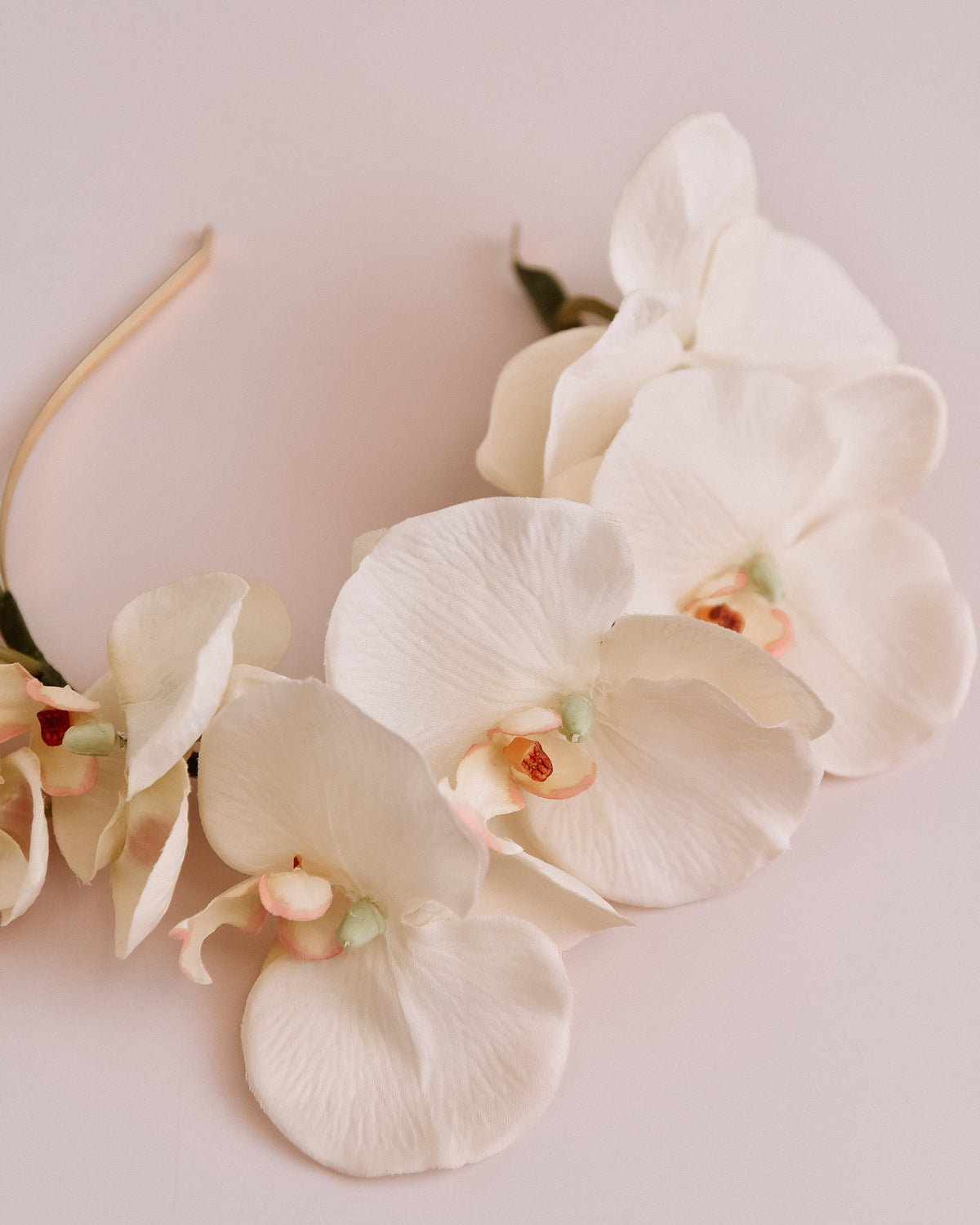 Delaney Orchid Crown Headband - White