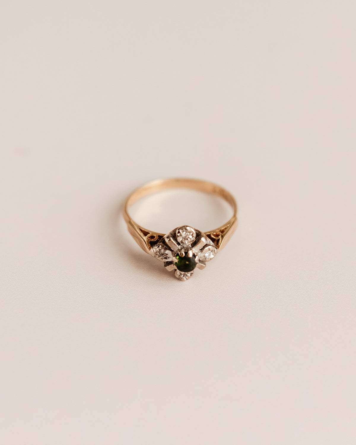 Image of Clover Exclusive Vintage 18ct Gold Tsavorite Garnet and Diamond Cluster Ring