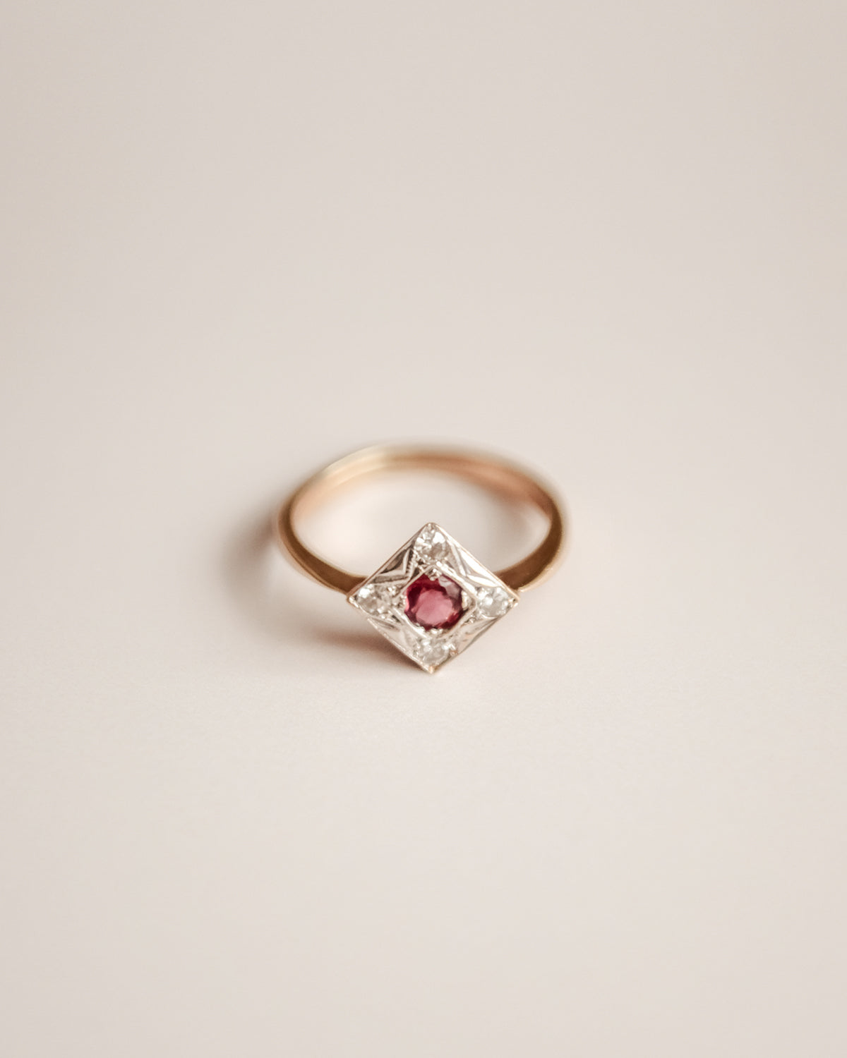 Image of Temperance Exclusive Vintage 9ct Gold Ruby and Diamond Ring