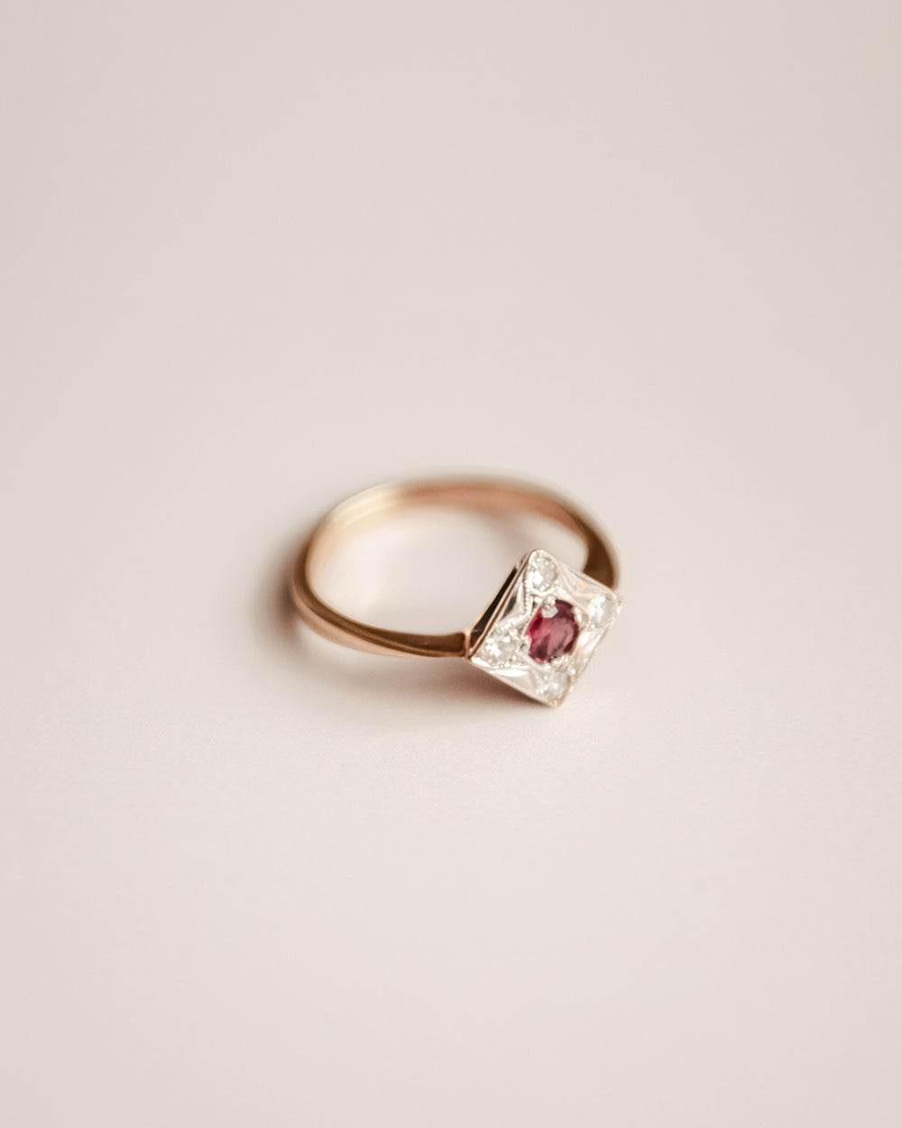 Temperance Exclusive Vintage 9ct Gold Ruby and Diamond Ring