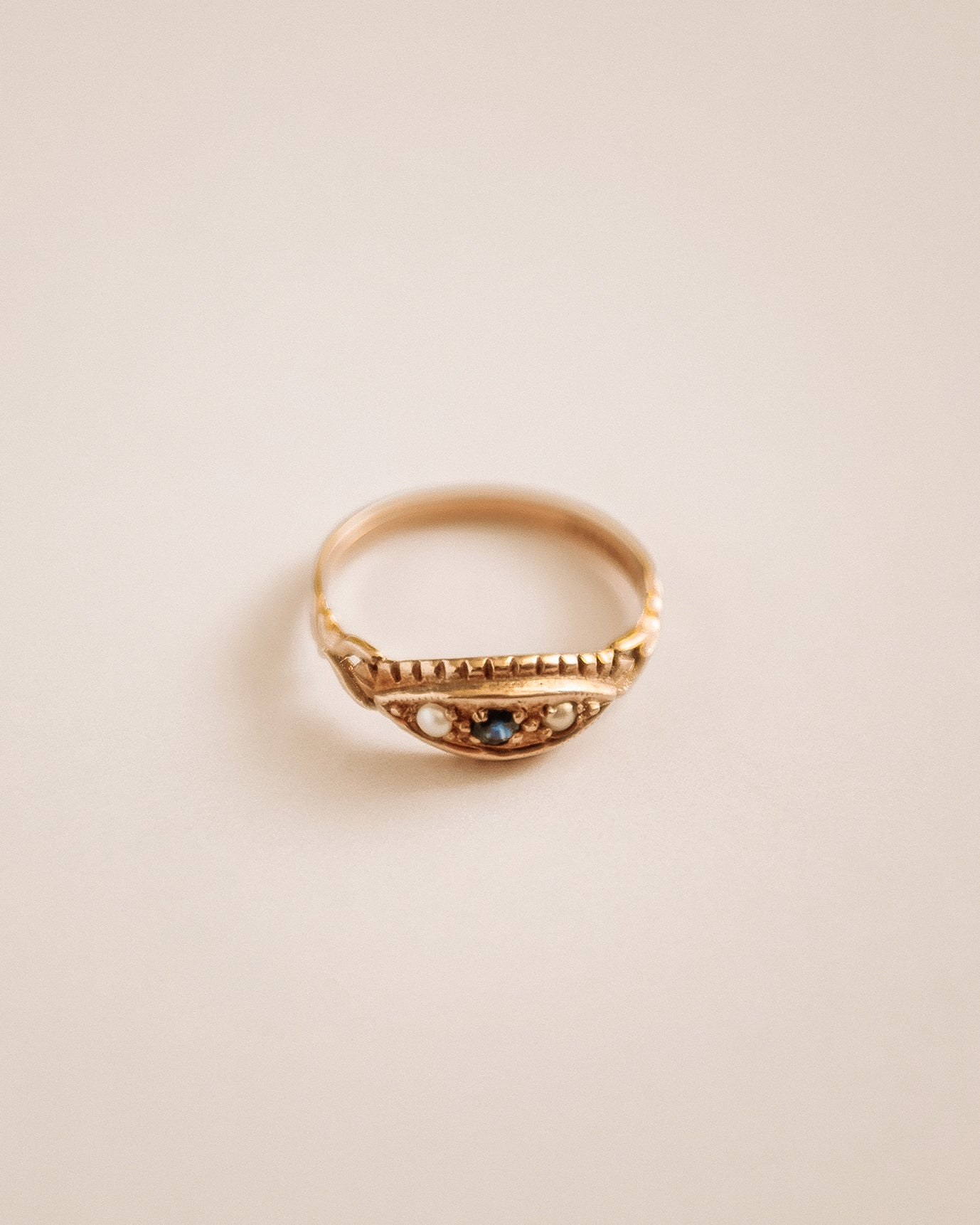Image of Rosalind 9ct Gold Sapphire & Pearl Ring