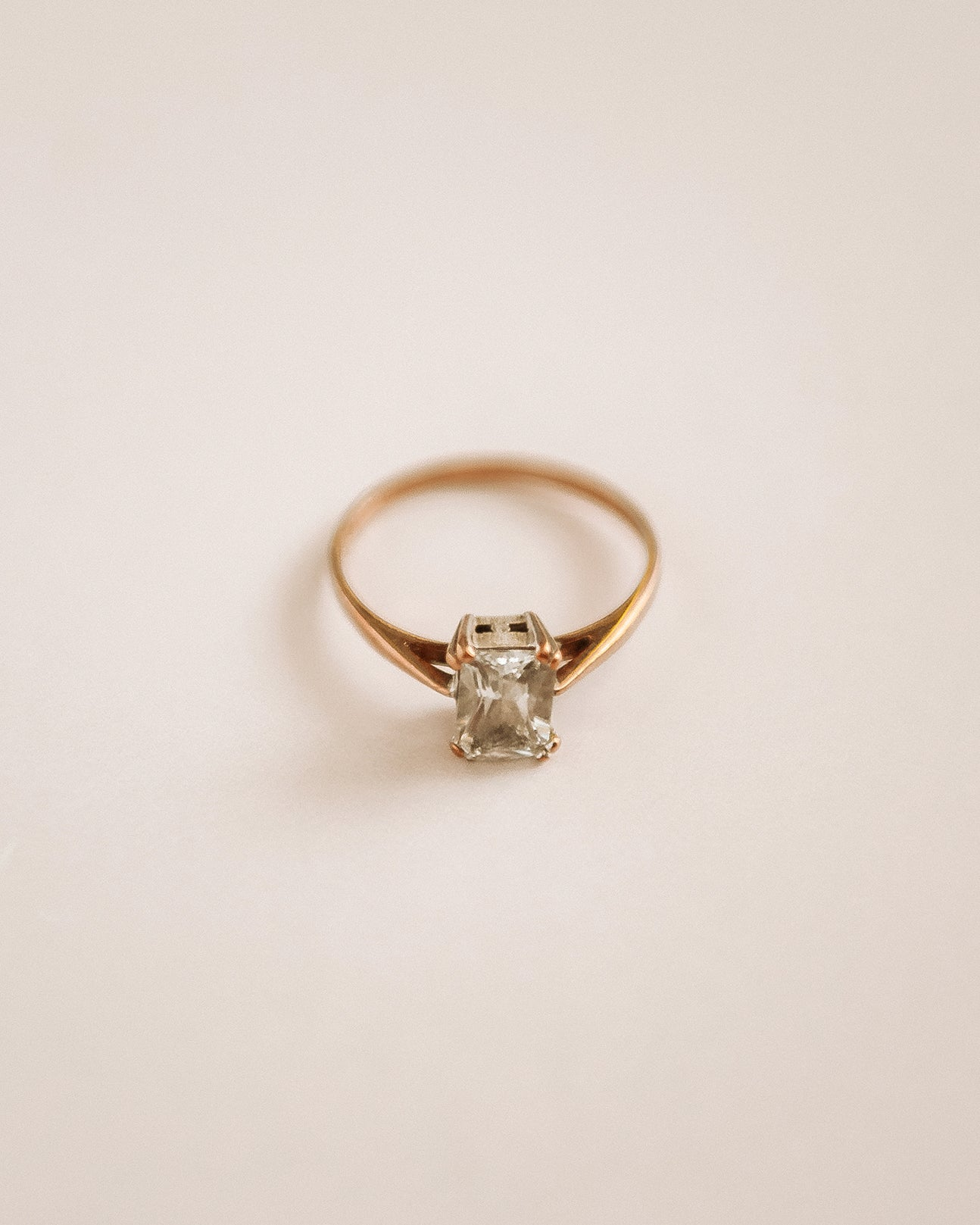 Image of Ethel 9ct Gold Emerald Cut Cocktail Ring