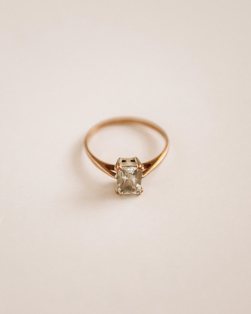 Ethel 9ct Gold Emerald Cut Cocktail Ring