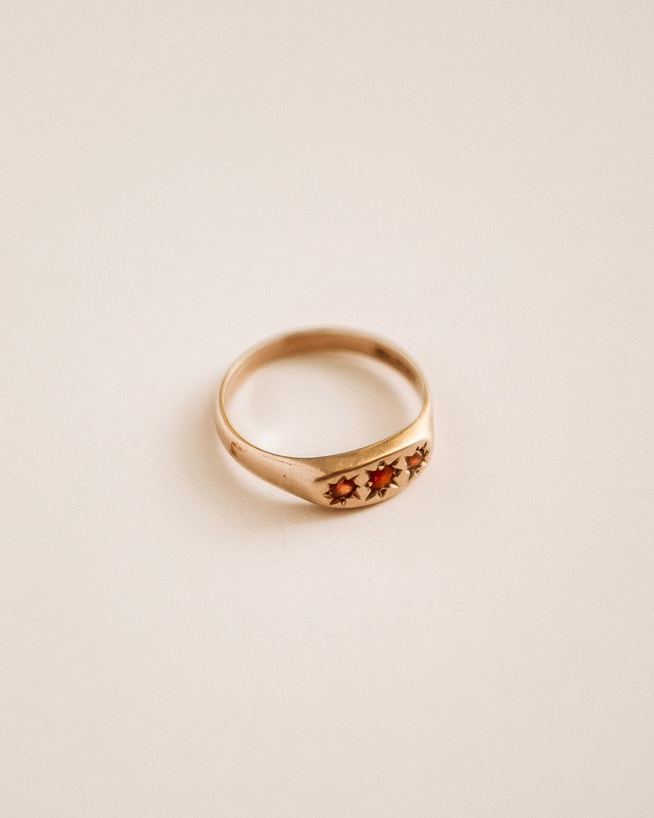 Lottie 9ct Gold Garnet Signet Ring