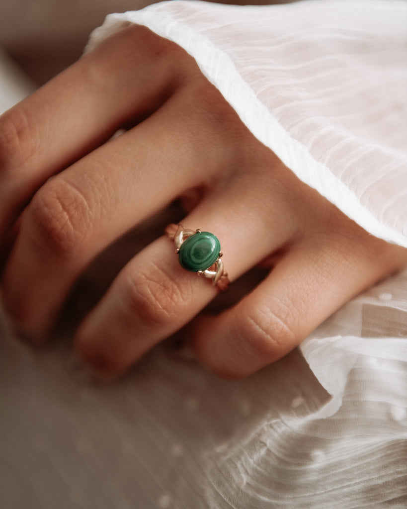 Ramona Exclusive Vintage 9ct Gold Malachite Ring