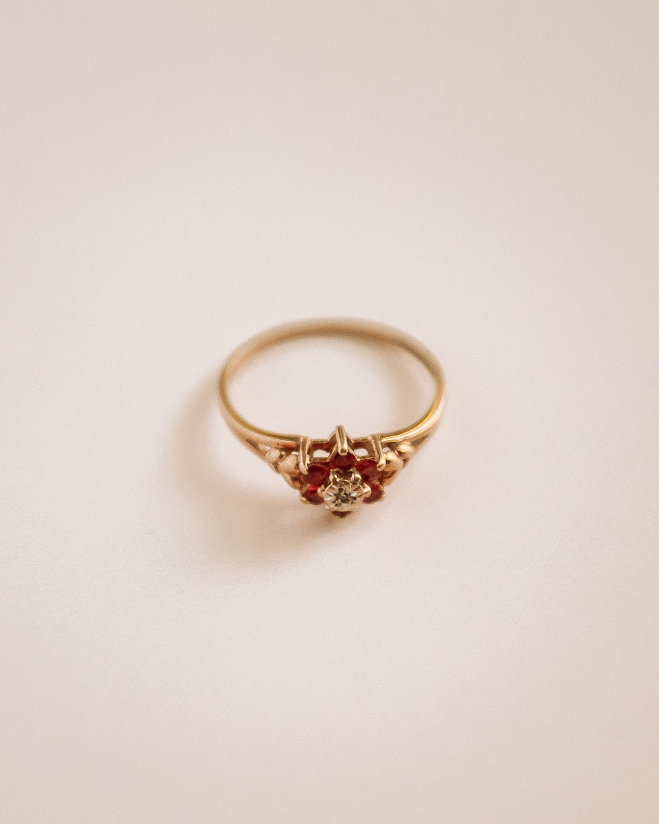 Simone 9ct Gold Ruby & Diamond Cluster Ring