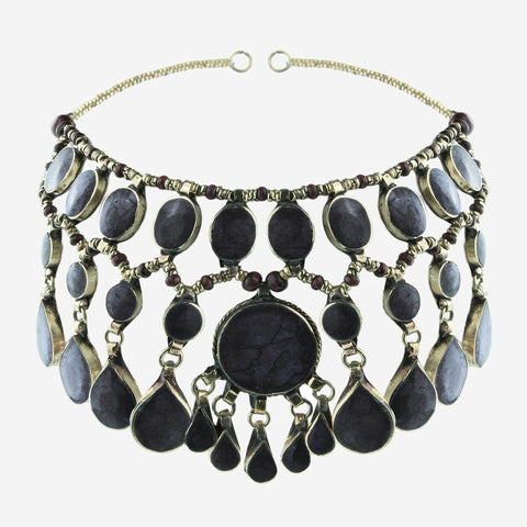 EVANGELINE Black Jade Gemstone Headdress
