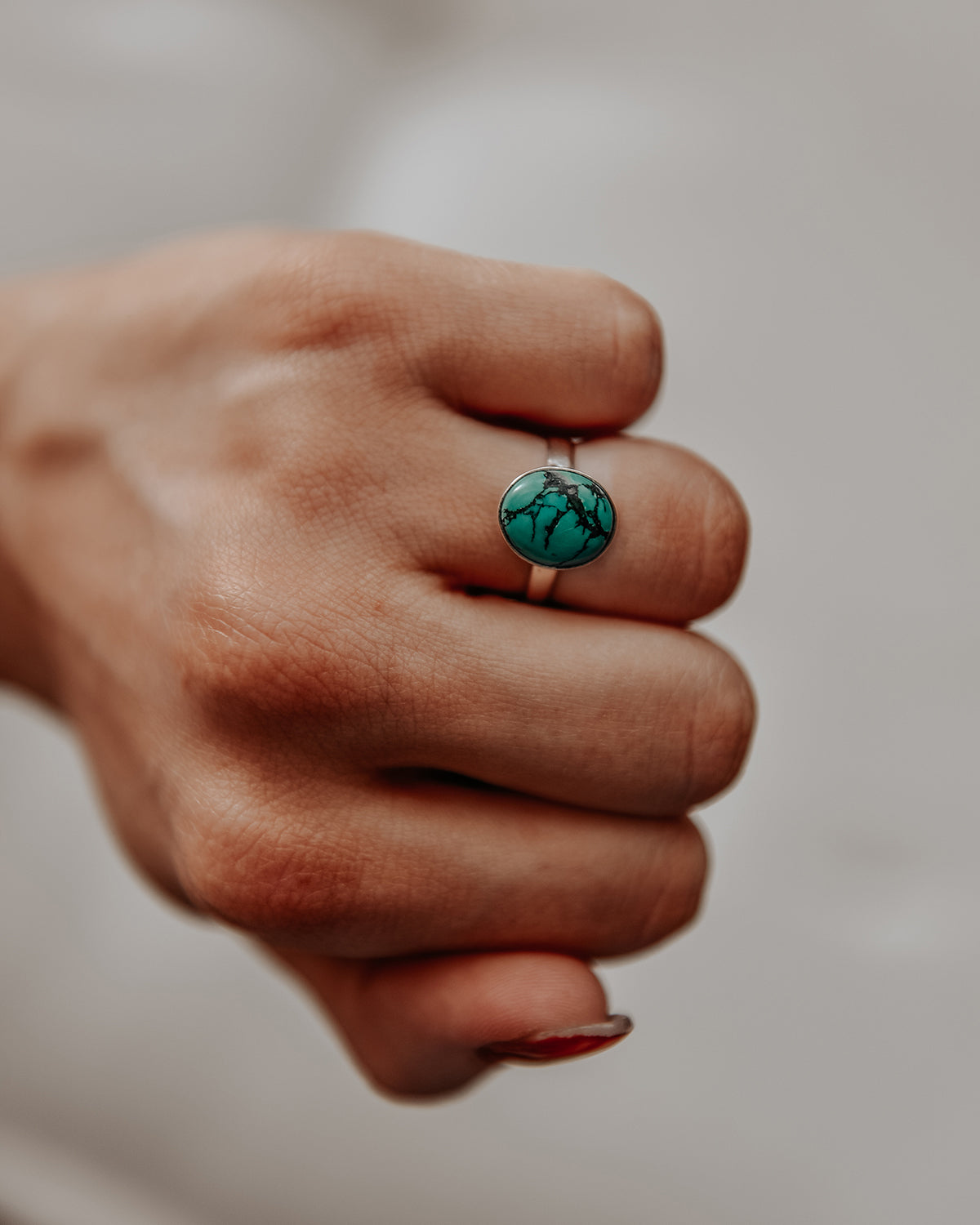Image of Ebba Sterling Silver Gemstone Ring - Turquoise
