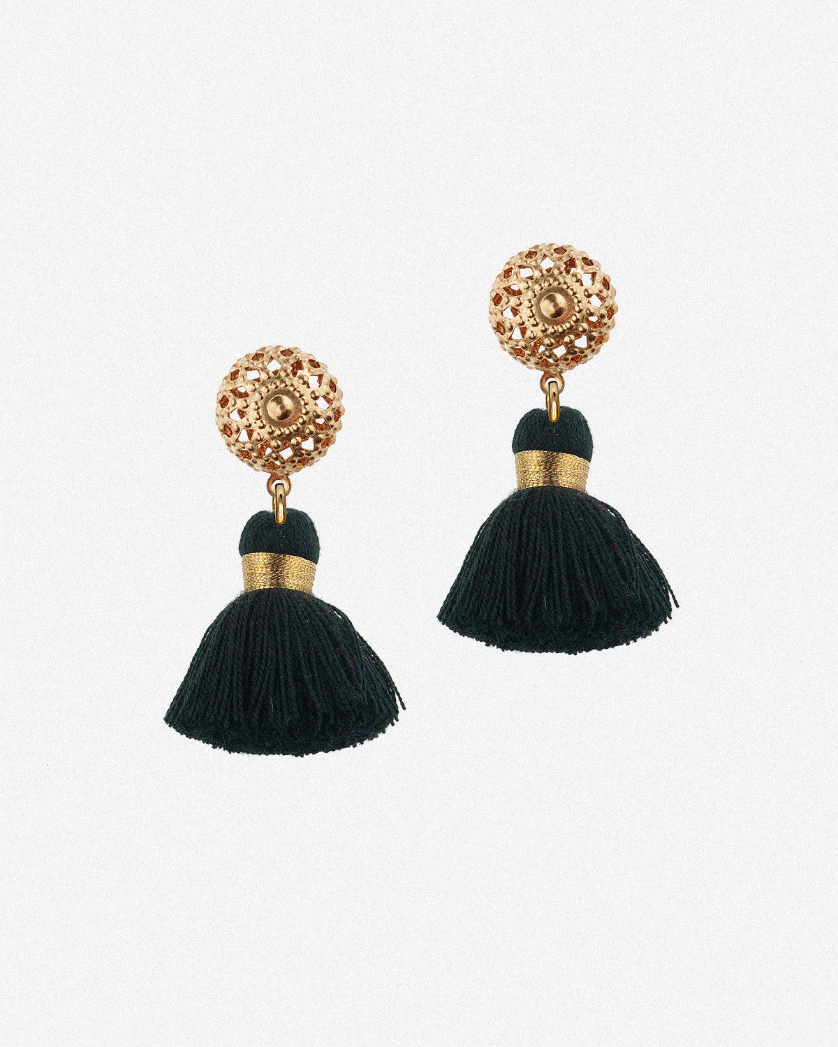 Image of Emmeline Mini Tassel Earrings - Black