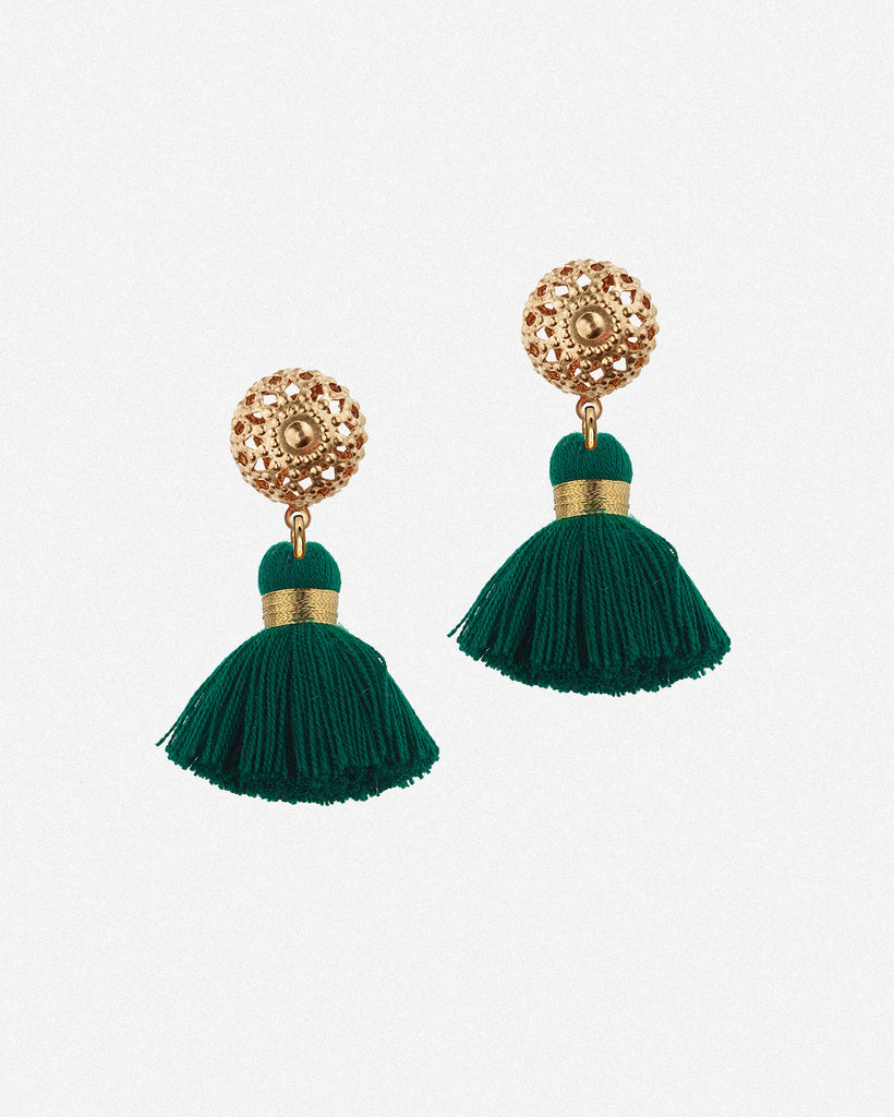Emmeline Mini Tassel Earrings - Emerald