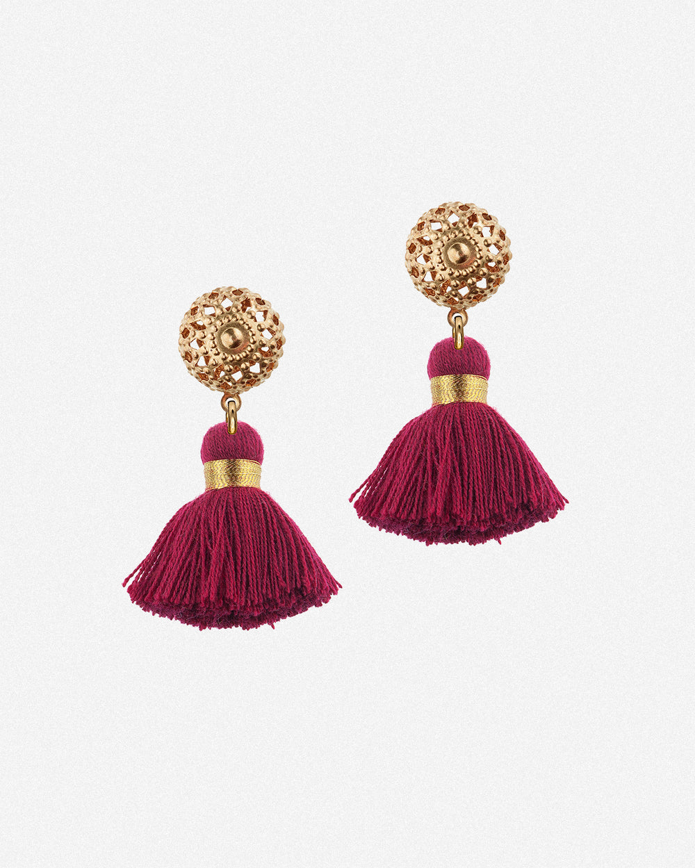 Emmeline Mini Tassel Earrings - Bordeaux